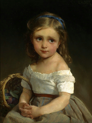 Émile Munier - Girl with Basket of Plums