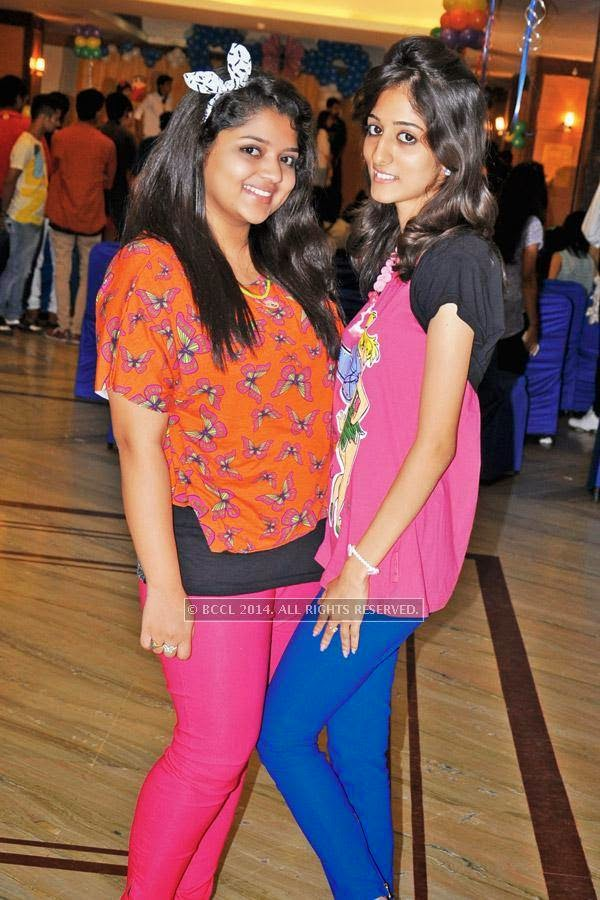 Falguni (L) and Varsha during a cartoon-themed party organised by Modern Dental College and Research Centre, in Indore.