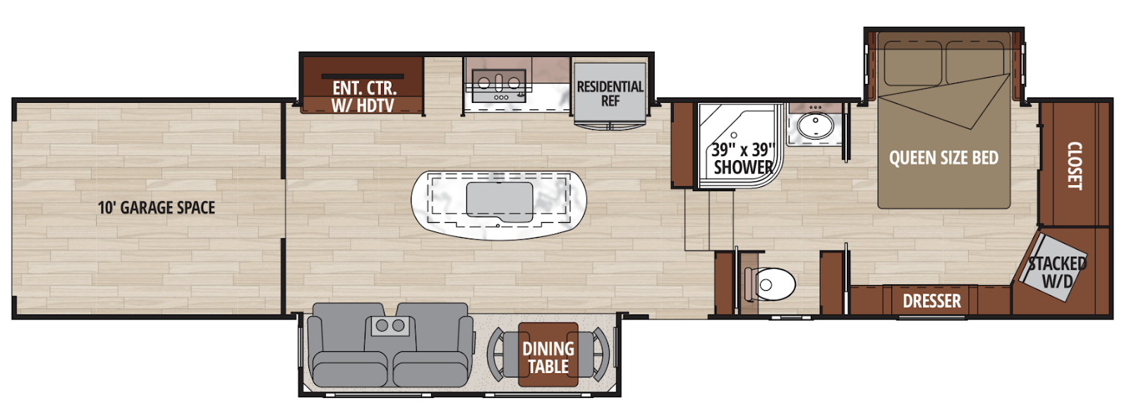 The floor plan for 41 foot New Horizons Summit S41IKT3S Toy Hauler Fifth Wheel family-friendly RV
