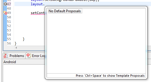 template proposals not working in eclipse no default proposals