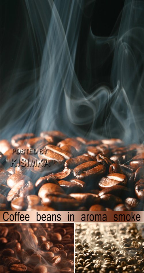 Stock Photo: Coffee beans in aroma smoke