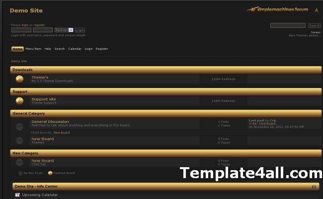 Free Golden Black SMF Theme Template