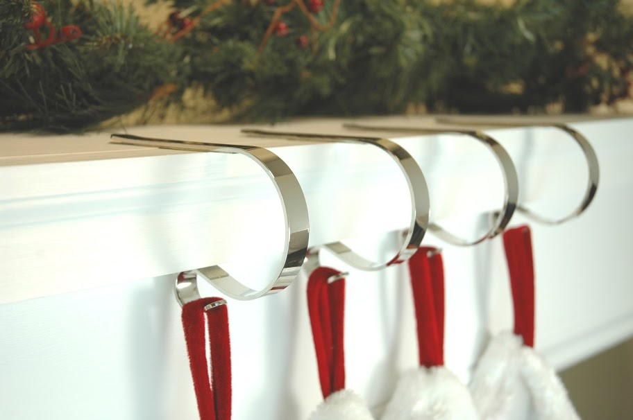 Mantle Clip Stocking Holders - Polished Silver (set of 4)