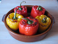 pimientos rellenos de arroz/rice stuffed peppers