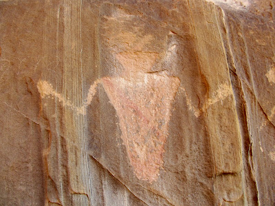 Petroglyphs in Three Finger Canyon. There's also some pigment painted on this guy.