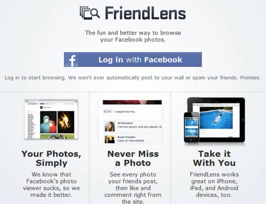 cara melihat foto facebook lebih nyaman dengan friendlens