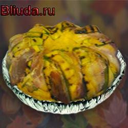 Рисовый пирог с зеленым горошком и сыром