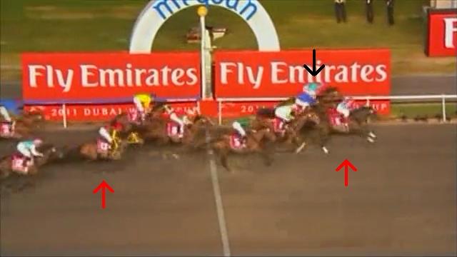 ゴール直後。ブエナビスタは直線で進路を変えるロスが無ければもうすこし差は詰まったでしょうが、この先行決着のレースであの位置取りではブエナビスタの豪脚でも届かない。向こう正面でポジションをあげたデムーロ騎手の好騎乗がもたらした勝利です。