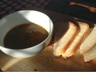 homemade soup and bread