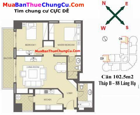Thiết kế căn hộ 102.5m2 Chung cư 88 Láng Hạ tháp B
