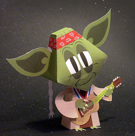 Green Eared Stranger Paper Toy Country Star Yoda