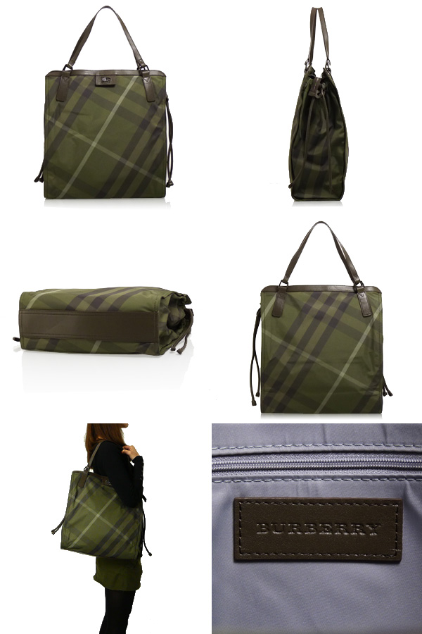 Burberry Buckleigh Check Packable Nylon Tote - Olive Check bc3a3a07875b2