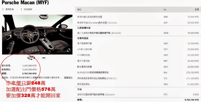 Porsche macan空車價248萬配備328萬總價576萬