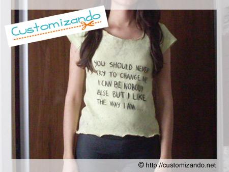 Customização de blusinha com letra de música