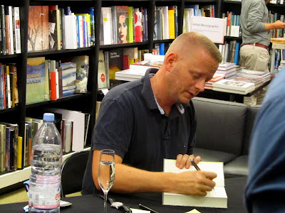 Patrick Ness signing books at Waterstone's Piccadilly