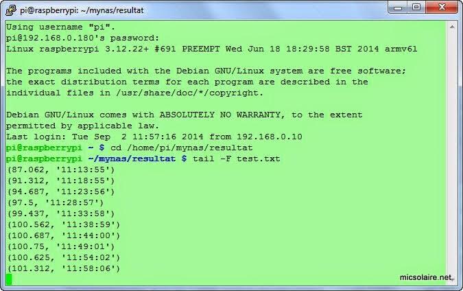 Mesure de température avec le Raspberry PI Tempdats1