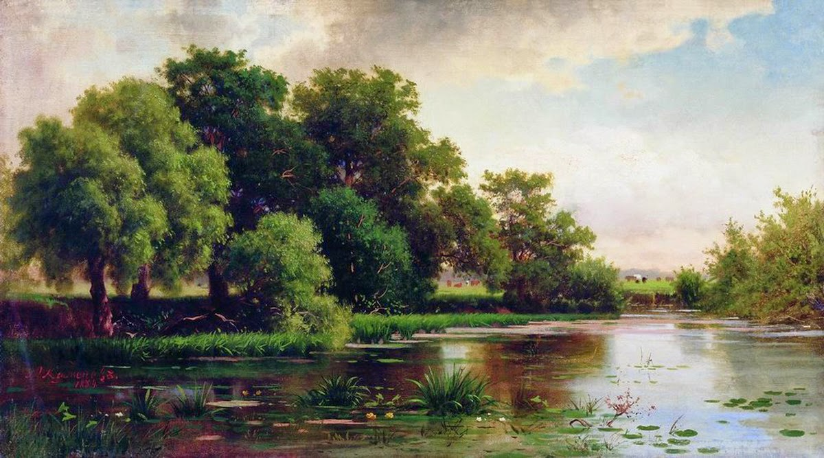 Lev Kamenev - Landscape with pond. 1884