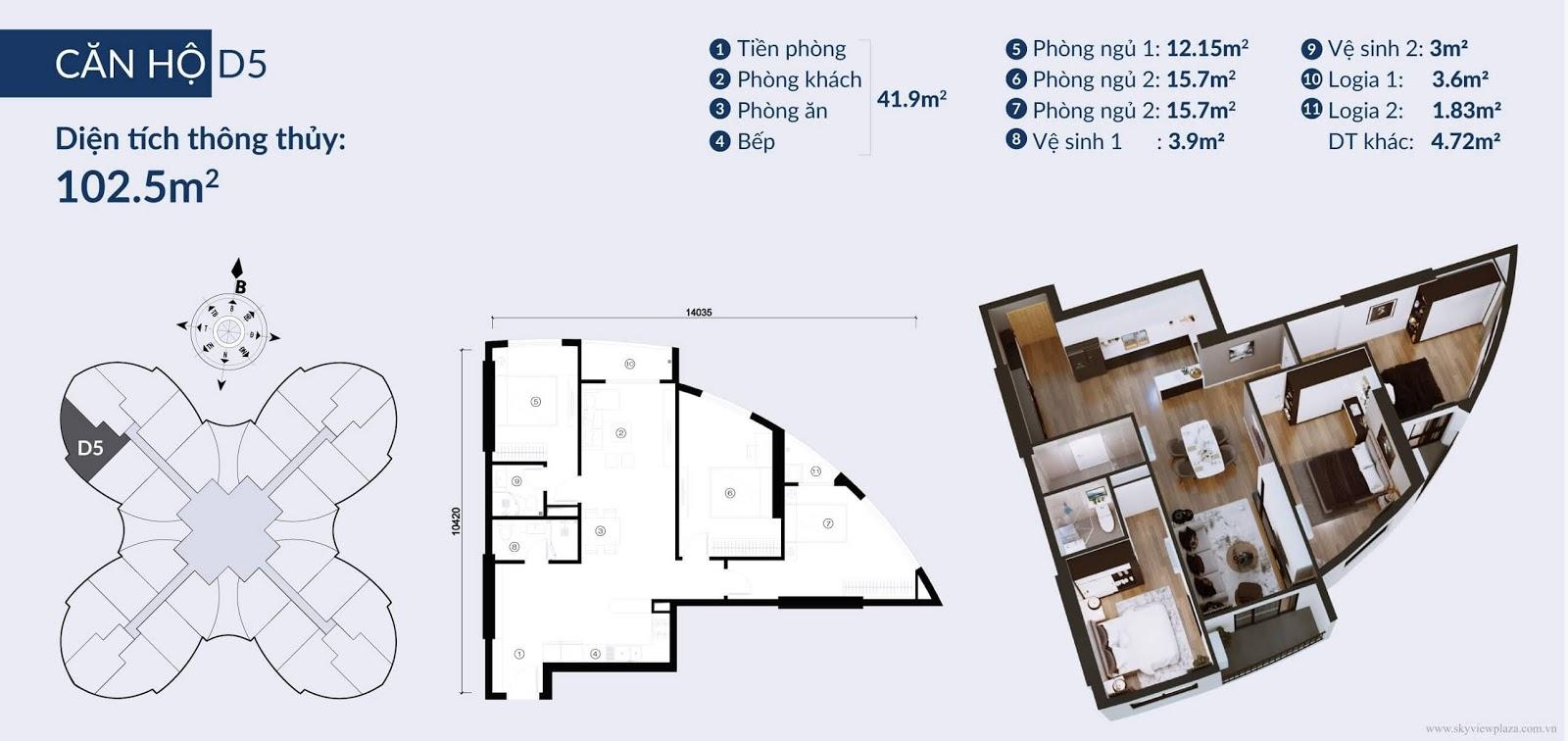 Chi tiết căn hộ D5 toà chung cư Sky View Plaza
