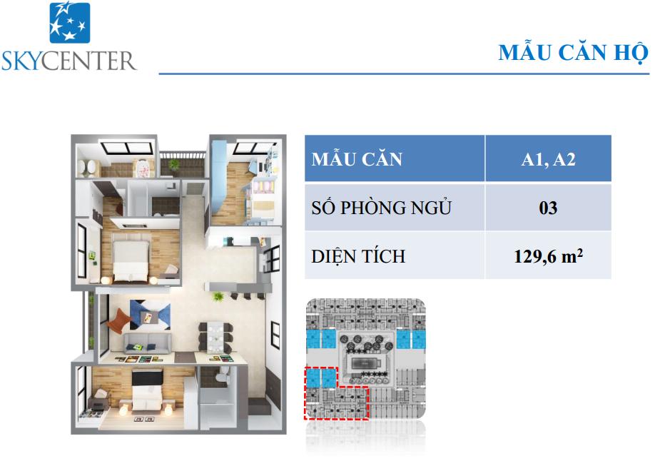 Mẫu căn hộ skycenter A1,A2