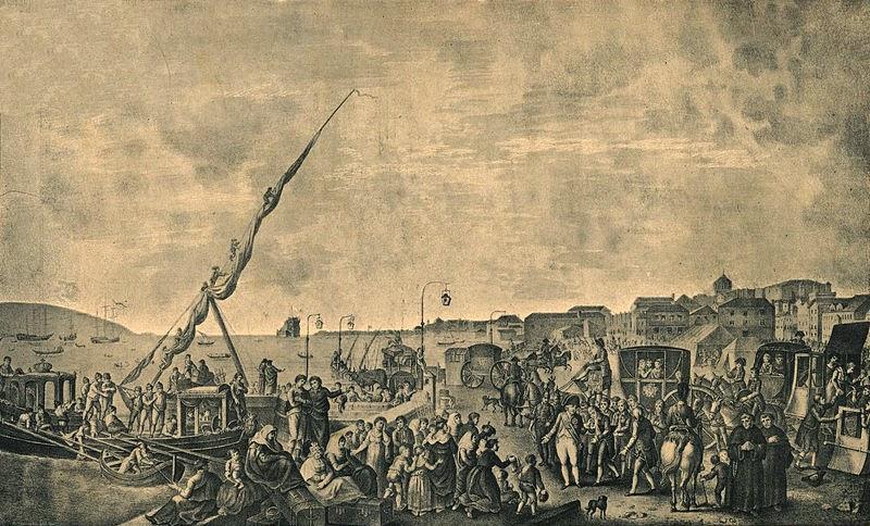 Embarque do príncipe regente de Portugal, Dom João, e toda família real para o Brasil no cais de Belém.