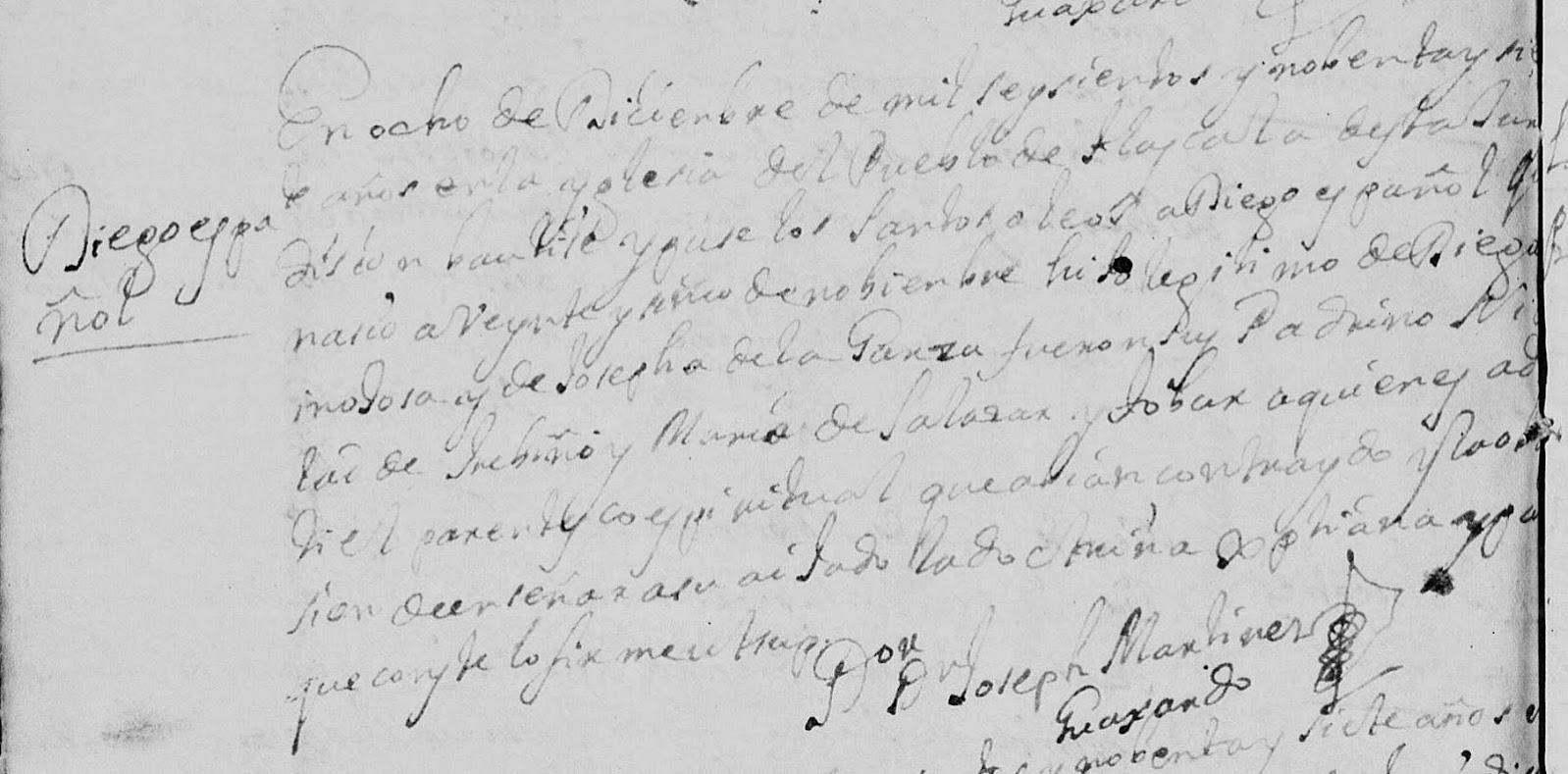 Diego de Hinojosa Baptism 1697