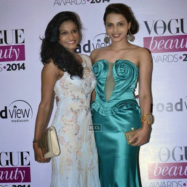 Pond's Femina Miss India 2013 finalist Gail Da' Silva (R) poses with a friend during Vogue Beauty Awards 2014, held at Hotel Taj Lands End in Mumbai, on July 22, 2014.(Pic: Viral Bhayani)