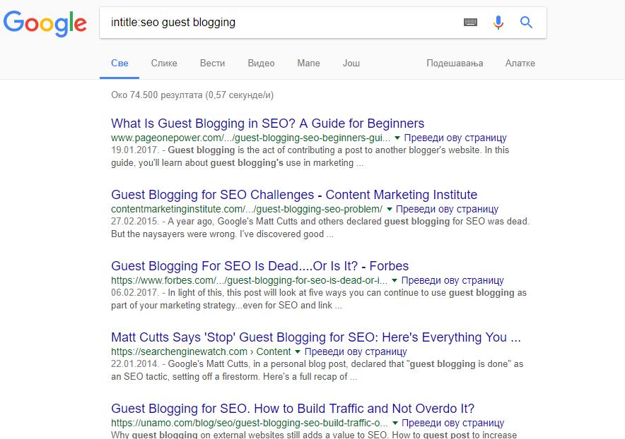 intitle toán tử tìm kiếm của Google