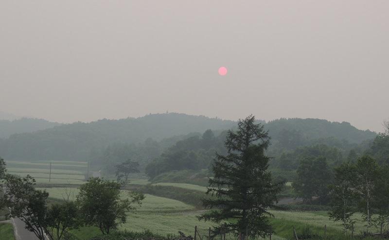 煙霧の太陽 桃色の夕陽 ②