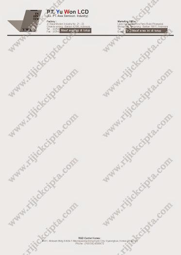 contoh kop surat perusahaan PT. Yu Won LCD, perusahaan produsen LCD Liquid Crystal Display untu handphone atau lainnya