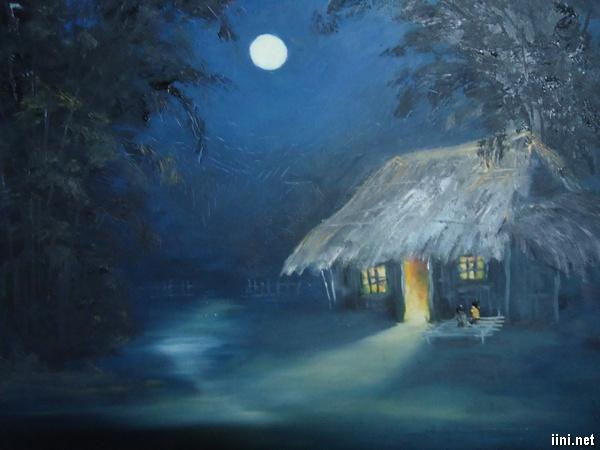 ánh trăng soi xuống mái nhà tranh