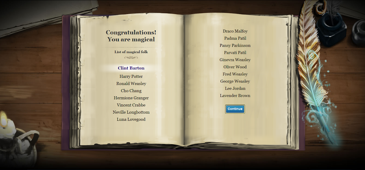 Hogwarts Avengers, VoldieBeth was here: Clint's Pottermore