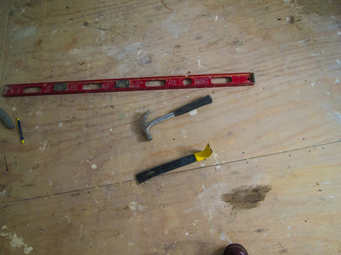 Tools on the floor of our unfinished apartment in Astoria.
