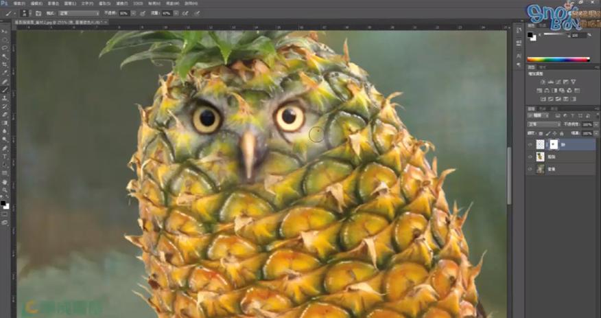 Photoshop設計實務全攻略 鳳梨貓頭鷹合成