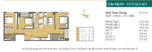 Thiết kế căn hộ 01-12 (112,5m2)