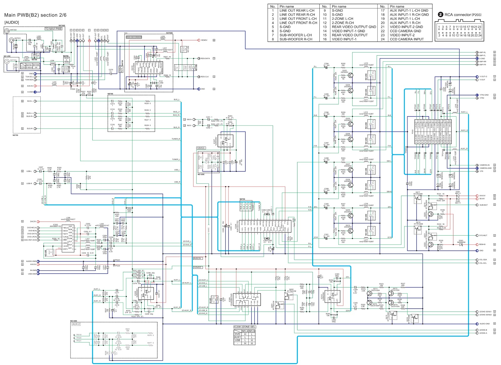 Clarion Nx700 Nx700e 2 Din Memory Navigation Dvd Wiring Diagram Main Pwb