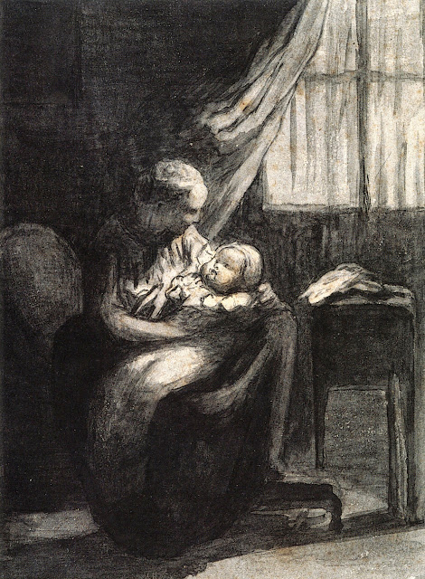 Honoré Daumier - A Young Mother