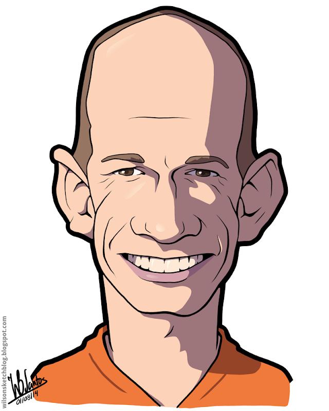 Cartoon caricature of Arjen Robben.