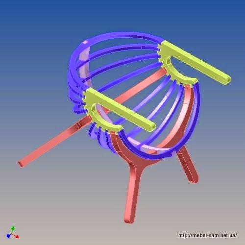 Трехмерная модель фанерного кресла