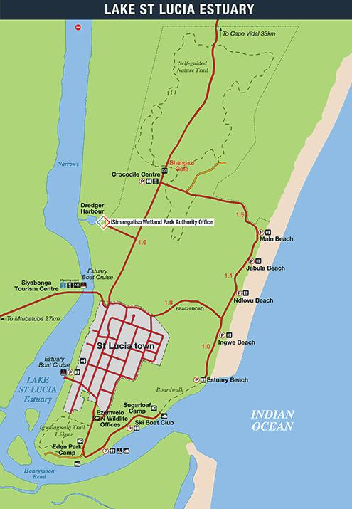kaart van Lake St. Lucia, iSimangaliso Wetland Park, Zuid Afrika