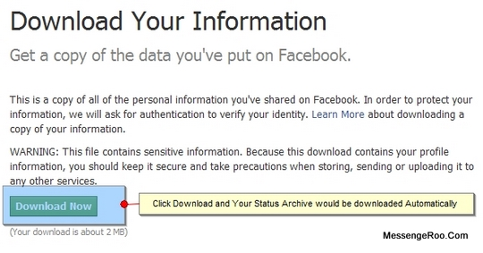 Download Now and Start Facebook Archive