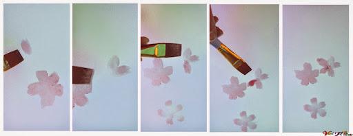 vẽ hoa anh đào bằng màu nước (Bước 2)