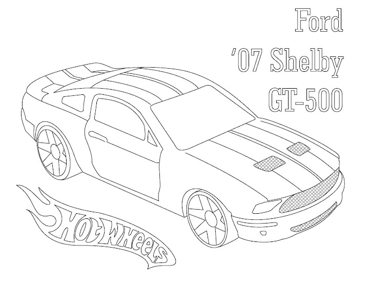 Ford Shelby GT-500 Coloring Page