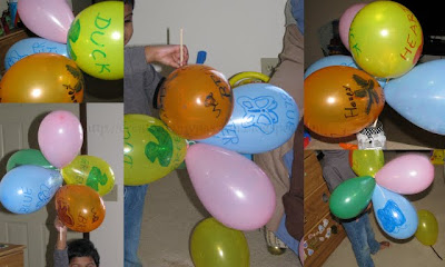 Tie Balloons to a dowel stick to make a Balloon shaker