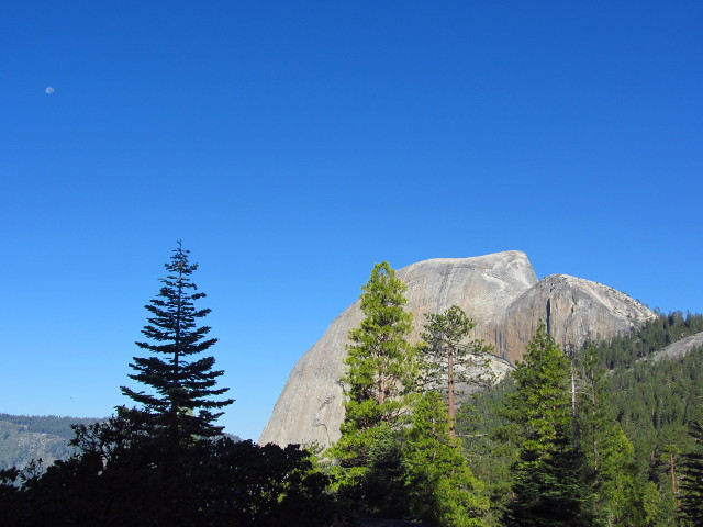 Half Dome and the remaining moon