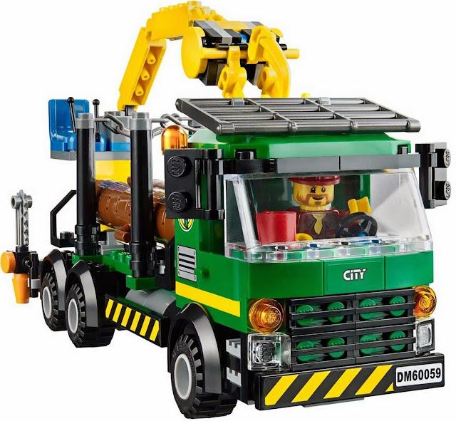 Mô hình xe vận chuyển gỗ trong bộ xếp hình Logo 60059 Logging truck