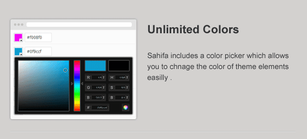 unlimited colours in Sahifa