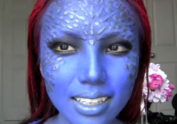 mystique x-men Halloween makeup look