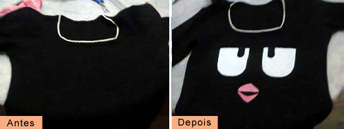 Customizando blusa Angry Birds - antes e depois da customização