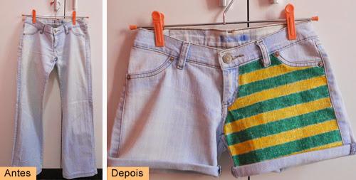 DIY como customizar short jeans com esmalte - Copa do Mundo Brasil