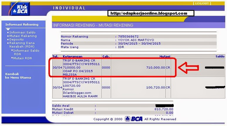 Rek. BCA - Bukti Transfer Pembayaran ODAP Bulan April 2015